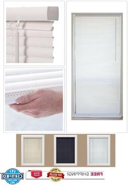 "1"" Slat Cordless Vinyl Mini-Blinds Shades Window Blind Treat"