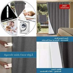 100% Blackout Patio Door Linen Curtains For Sliding Extra Lo