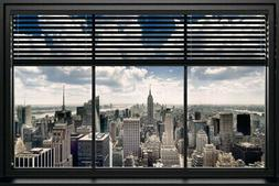 103988 New York Windows Blind Photo Art Decor LAMINATED POST