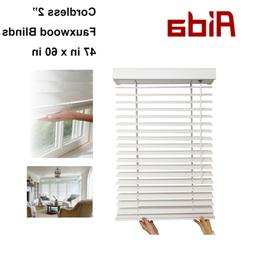"""AIDA 2"""" Faux Wood window Blinds 47 in x 60 in for kitchen, b"""