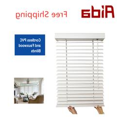 "AIDA Cordless 2 "" Fauxwood Windows Horizontal Blinds for Bat"