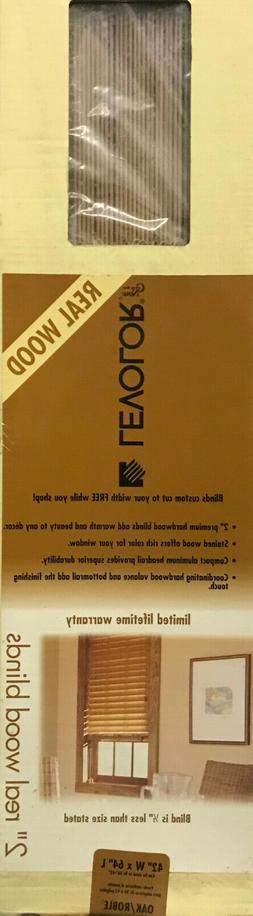 """Levolor 2"""" Real Wood Window Blinds - Medium Oak - 42"""" x"""