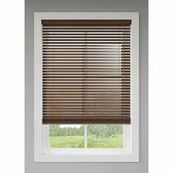 27 x 64 LEVOLOR 2-in Walnut Faux Wood Blind - Trim+Go