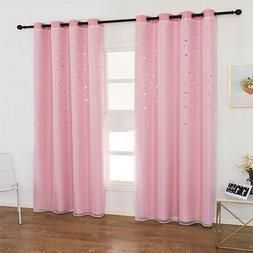 2PCS Window Kids Eyelet Blinds Curtain Living Room Star Ligh
