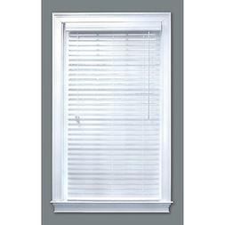 """35"""" x 64"""" White Etched Woodgrain Faux Wood 2-in Slat Window"""