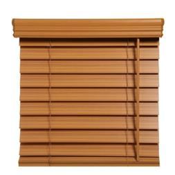 38 x 72 in Chestnut Faux Wood Blind Cordless Room Darkening