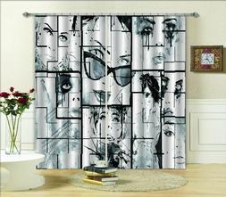 3D Modern Abstract Face Blockout Curtain Drape Pinch Pleat C
