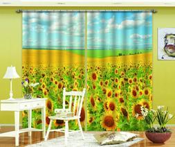 3D Sunflower Field Blockout Curtain Drape Pinch Pleat Curtai