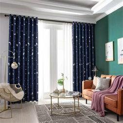 Star Moon Print Bedroom Blackout Curtains Living Room Shadin