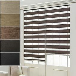 BlackOut Window Blinds Sheer Double Layered Roll-Up Shade Cu