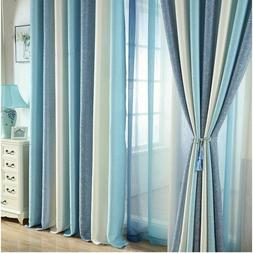 Blue Striped Printed Blackout Curtains for Living Room Moder