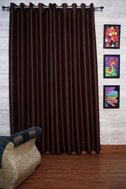 "Chocolate Brown Faux Silk Curtains, 51""  Wide,Chose Top, Len"
