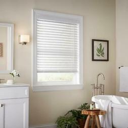 "Cordless Faux Wood Blind White 35x64 2"" Slats Moisture Resis"