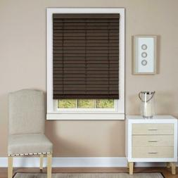 "Cordless/Wandless Madera Falsa 2"" Faux Wood Plantation Blind"