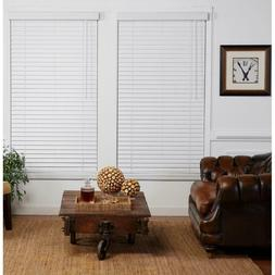 """Cut-to-Width White 2"""" Cordless Faux Wood Blind - 32.5"""" W x 8"""