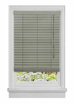 ACHIM Grey Cordless Room Darkening Faux Wood Blinds with 2 i