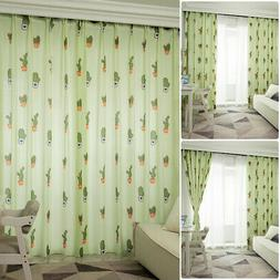Home Blackout Curtains Semi Blinds Cactus Printed House Deco