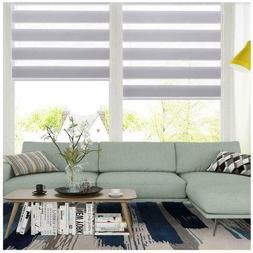 Horizontal Window Blind Dual Layer Zebra Roller Light Filter