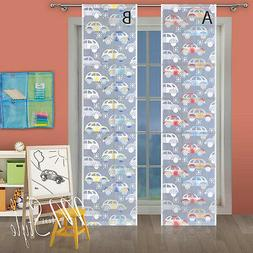 Kids Net Lace Window Panel Cars Blind Curtain Fly Screen Slo