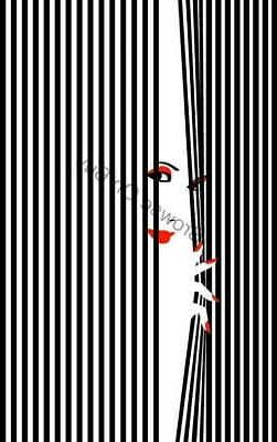 00536 WOMAN BEHIND BLACK & WHITE BLINDS LAMINATED POSTER CA