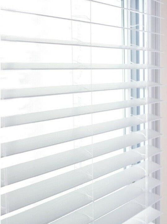 """LEVOLOR 2"""" Faux Wood Blinds Classic White Light-Filtering Sh"""