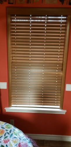 "Custom-Made, Bourbon colored, 2"" Real Wood Horizontal Window"