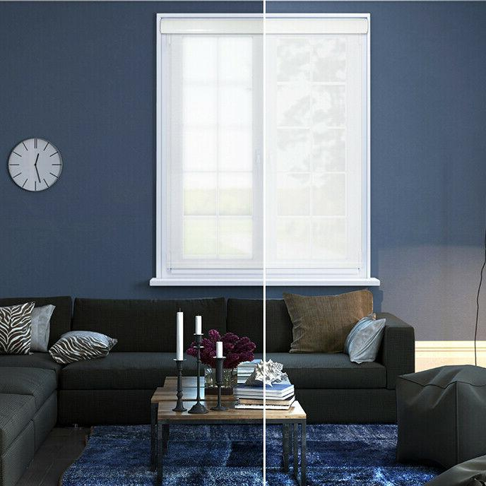 GoDear White Cordless Sheer Roller Shade Window Blind with C