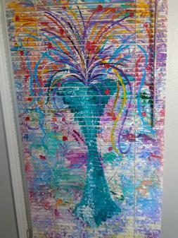 Mini Blind Original Artwork on Venetian Blinds 31 X 64 The B