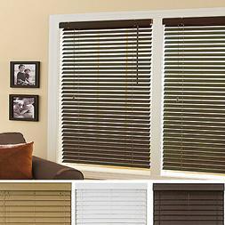"Mini Window Blinds 2"" Inch Faux Wood Grain Plantation Blind"