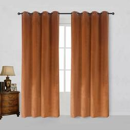 Modern Solid Velvet Curtains Bedroom Living Room Blackout Cu
