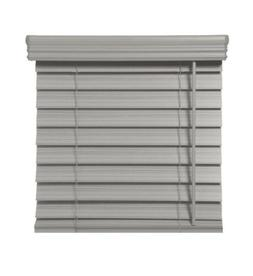 """New 2.5"""" Cordless Faux Wood Blinds, Graystone 47x48"""