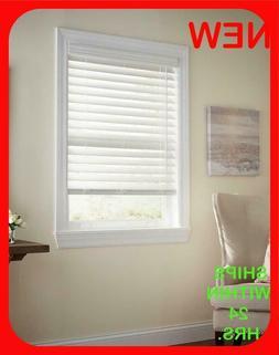 "NEW White Cordless 2.5"" Premium Faux Wood Blind - 31 7/8"" W"