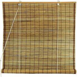 Oriental Furniture Burnt Bamboo Roll Up Blinds - Tortoise -