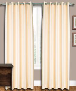 Peach Faux Silk Dupioni Curtains with Lining, Custom Made To