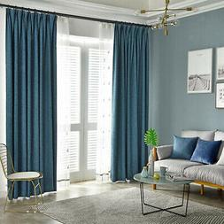 Plain Blackout Curtain Window Grommets Top Bedroom Drape Bli