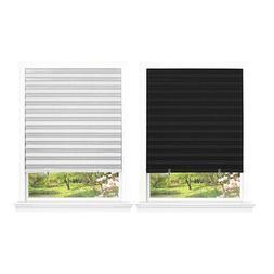 "Pleated Window Shades Room Darkening Vinyl Blinds - 75"" L Wh"