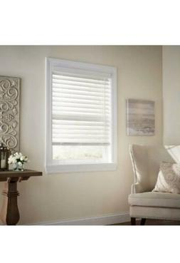 """Premium Faux Wood Blind 35.5 x 72 in White Cordless 2.5"""""""