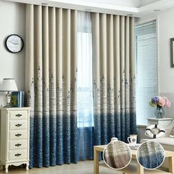 Printed Curtains Blue Blackout Room Blinds Brown Sheer Castl