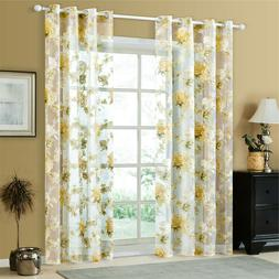Rose Modern Tulle For Windows Shade Sheer Curtains  Kitchen