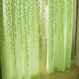 Tulle Curtains Living Room Blinds Bedroom Willow Leaf Decora