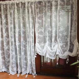 Window Curtain Balloon Shade Curtain Sheer Voile Lace Embroi