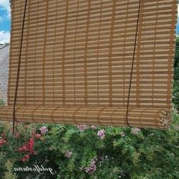 Window Shade Bamboo Light Brown Slat Roll Up Blind Rustic Na